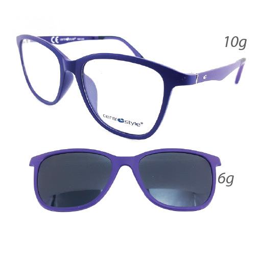 0256343 - Armação Ultem+ClipOn 51x17 Purpura Fosco e Lente Cinza Mod 56343 FLAG 9 - Contém 1 Peça