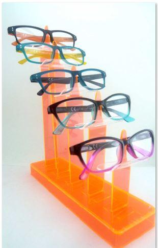 0109026.6 - Expositor Oculos 5 Pçs Acrilico Laranja Mod OT-1 FLAG 9 - Contém 1 Peça