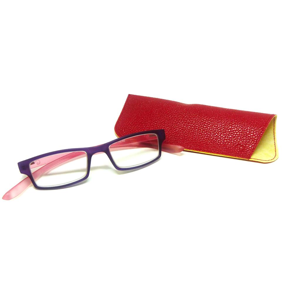 0869065 - Óculos Leitura Retangular Roxo/Rosa +3,00 Mod AR5087 - Contém 1 Peça