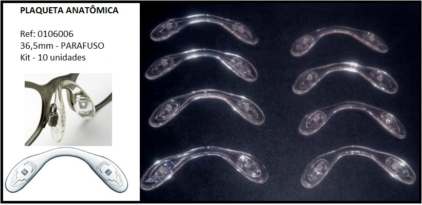 0106006 - Plaqueta 01 Anatômica Silicone/Parafuso 36,5mm  -Contém 10 Peças