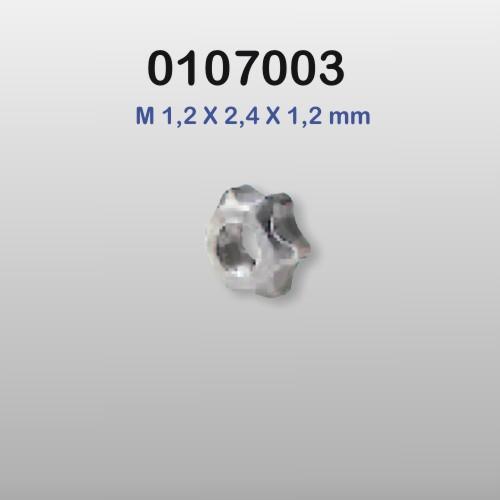0107003 - Porca Estrela M1,2x2,4x1,2mm - Contém 100 Peças