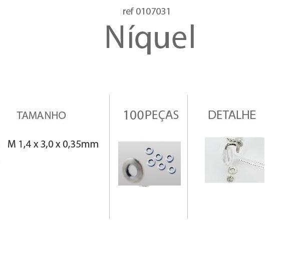 0107031-Anilha Metal Niquel M1,4x3,0x0,35mm - Contém 100 Peças  - ENTREGA IMEDIATA