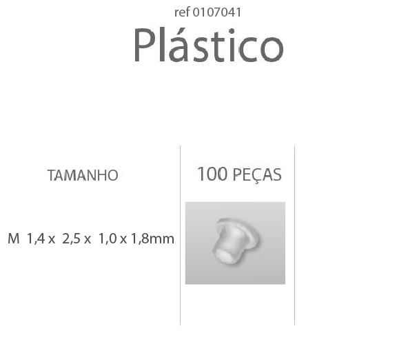 0107041 - Anilha Plástica Cilindrica M1,4x2,5x1,0x1,8mm - Contém 100 Peças
