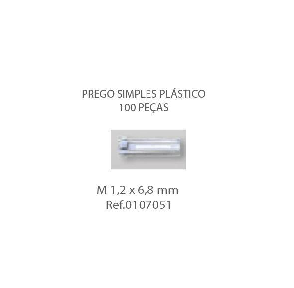 0107051 - Prego Simples Plástico M1,2x6,8mm - Contém 100 Peças