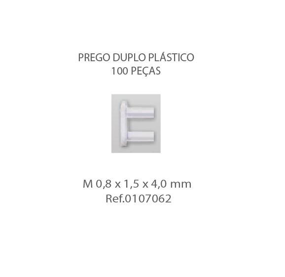 0107062 - Prego 01 Duplo Plástico M0,8x1,5x4,0mm  -Contém 100 Peças