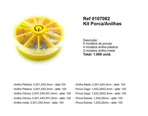 0107082 - Kit Porca+Anilha 10x100 Mod Round Kits FLAG 9 - Contém 1000 Peças