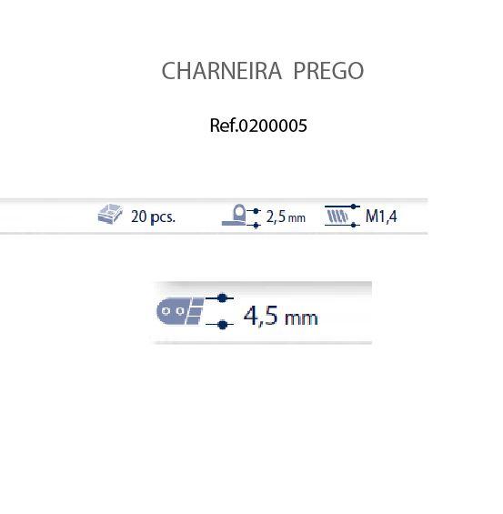 0200005 - Charneira Prego 4,5mm Frontal Esquerdo Mod 5 FLAG 9 - Contém 20 Peças
