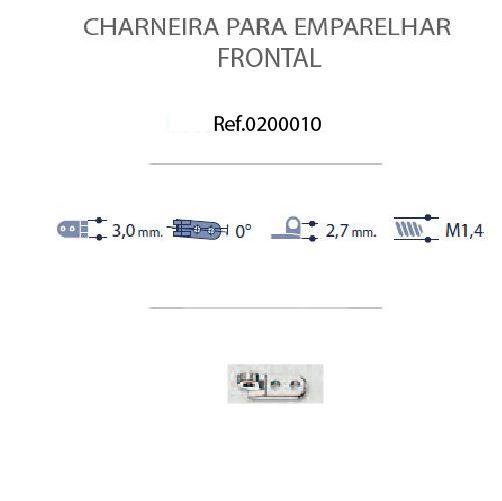 0200010 - Charneira 02 Prego 3,0mm Frontal Mod 10 FLAG E  -Contém 20 Peças