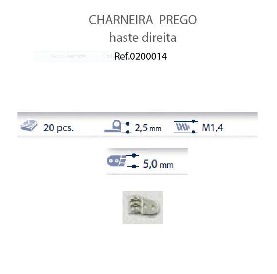 0200014 - Charneira Prego 5,0mm Haste Direita Mod 14 FLAG 9  -Contém 20 Peças