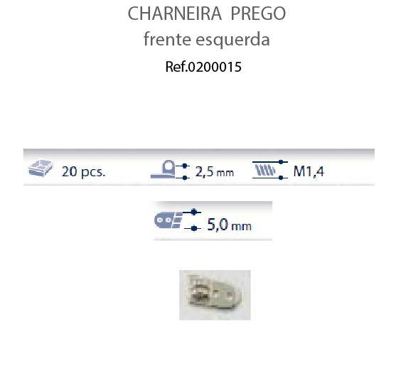 0200015 - Charneira Prego 5,0mm Frontal Esquerdo Mod 15 FLAG 9  -Contém 20 Peças