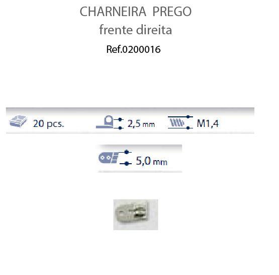 0200016 - Charneira Prego 5,0mm Frontal Direito Mod FLAG 9 - Contém 20 Peças