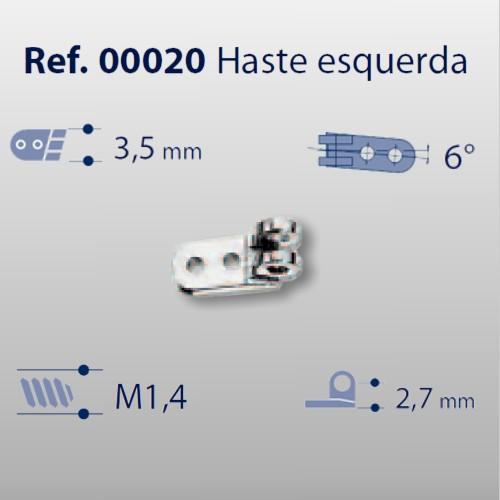 0200020 - Charneira 02 Prego 3,5mm Haste Esquerda Mod 20 FLAG E  -Contém 20 Peças
