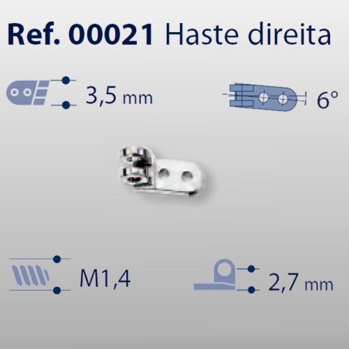 0200021 - Charneira 02 Prego 3,5mm Haste Direita Mod 21  -Contém 20 Peças