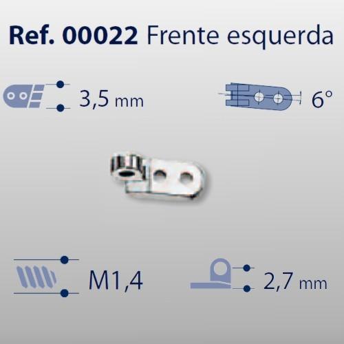 0200022 - Charneira 02 Prego 3,5mm Frontal Esquerdo Mod 22  -Contém 20 Peças