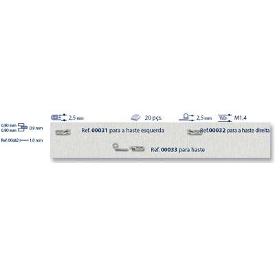 0200032 - Charneira Prego 2,5mm Haste Direita Mod 32 FLAG 9 - Contém 20 Peças