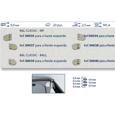 0200039 - Charneira Prego 6,0mm Frontal Esquerdo Mod 39 FLAG 9 - Contém 20 Peças