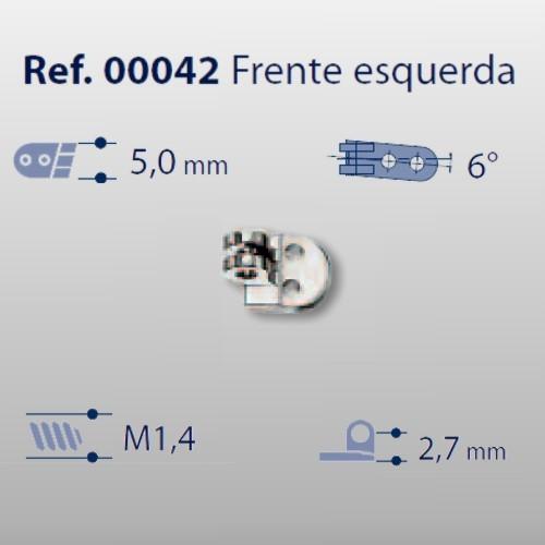 0200042 - Charneira 02 Prego 5,0mm Frontal Esquerdo Mod 42 FLAG E  -Contém 20 Peças