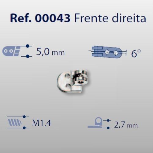 0200043 - Charneira 02 Prego 5,0mm Frontal Direito Mod 43 FLAG E  -Contém 20 Peças