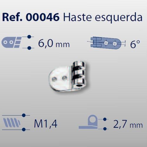 0200046 - Charneira Prego 6,0mm Haste Esquerda Mod 46 - Contém 20 Peças