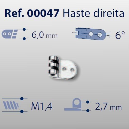 0200047 - Charneira Prego 6,0mm Haste Direita Mod 47 - Contém 20 Peças