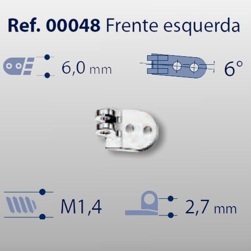 0200048 - Charneira 02 Prego 6,0mm Frontal Esquerdo Mod 48  -Contém 20 Peças