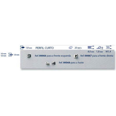 0200067 - Charneira Soldar 4,0mm Frontal Direito Mod 67 FLAG 9 - Contém 20 Peças