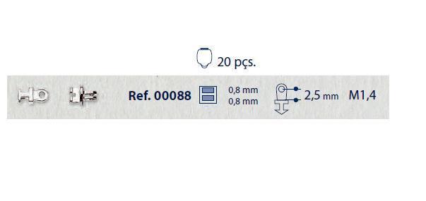 0200088 - Charneira 02 Embutir Ancora Retangular Mod 88 FLAG 9  -Contém 20 Peças