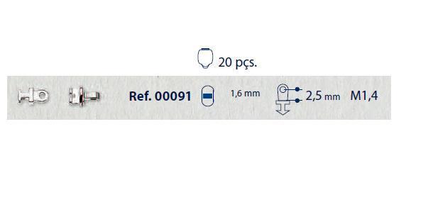 0200091 - Charneira 02 Embutir Ancora Retangular Mod 91 FLAG 9  -Contém 20 Peças