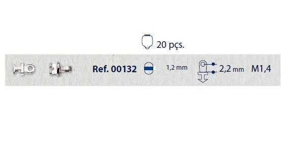 0200132 - Charneira 02 Embutir Ancora Redonda Mod 132 FLAG 9  -Contém 20 Peças