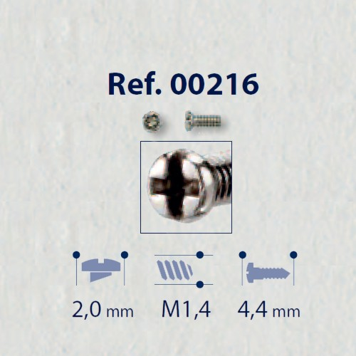 0200216 - Parafuso RB Metal [RC1,4/CB2,0/CP4,4] Níquel Mod 216 - Contém 100 Peças