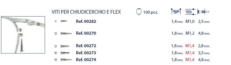 0200272 - Parafuso Flex [RC1,4/CB1,8/CP2,8] Niquel Mod 272 FLAG E - Contém 100 Peças SOB ENCOMENDA