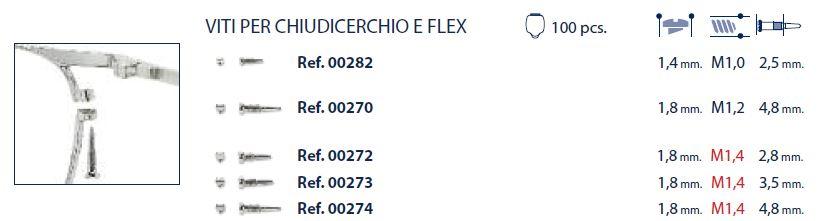 0200273 - Parafuso Flex [RC1,4/CB1,8/CP3,5] Niquel Mod 273 FLAG E - Contém 100 Peças SOB ENCOMENDA
