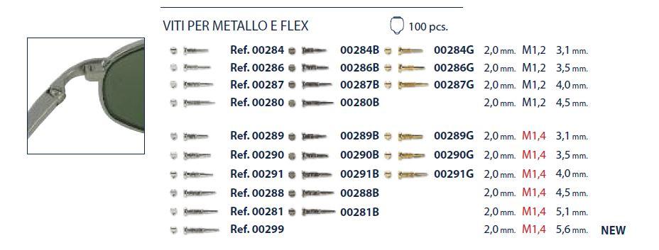 0200280 - Parafuso Flex [RC1,2/CB2,0/CP4,5] Niquel Mod 280 FLAG E - Contém 100 Peças SOB ENCOMENDA