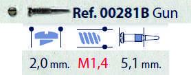 0200281B - Parafuso Flex [RC1,4/CB2,0/CP5,1] Grafite Mod 281B FLAG E - Contém 100 Peças SOB ENCOMENDA