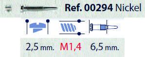 0200294 - Parafuso Flex [RC1,4/CB2,5/CP6,5] Niquel Mod 294 FLAG E - Contém 100 Peças SOB ENCOMENDA