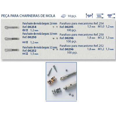 0200296 - Parafuso Peça-Flex Mecanismo [RC1,2/CB1,8/CP1,3] Níquel Mod 296 - Contém 100 Peças
