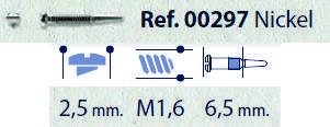 0200297 - Parafuso Flex [RC1,6/CB2,5/CP6,5] Niquel Mod 297 - Contém 100 Peças