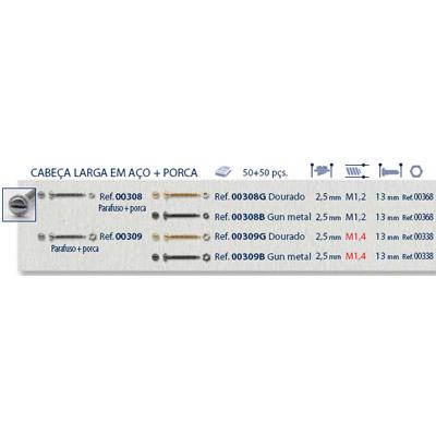 0200308 - Parafuso Griffe Aço+Porca [RC1,2/CB2,5/CP13] Níquel Mod 308 FLAG E - Contém 100 Peças SOB ENCOMENDA