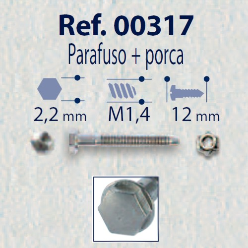 0200317 - Parafuso 02 Griffe Aço+Porca [RC1,4/CB2,2/CP12] Níquel Mod 317  -Contém 100 Peças