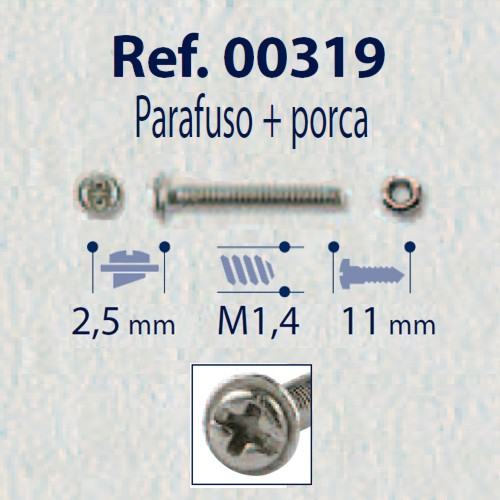 0200319 - Parafuso Griffe Aço+Porca [RC1,4/CB2,5/CP12] Níquel Mod 319 - Contém 100 Peças