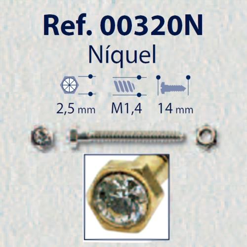 0200320N - Parafuso 02 Griffe Strass+Porca [RC1,4/CB2,5/CP14] Níquel Mod 320N  -Contém 20 Peças