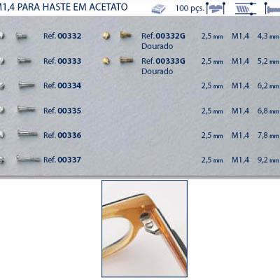 0200333G - Parafuso Alpaca [RC1,4/CB2,5/CP5,2] Ouro Mod 333G FLAG 9 - Contém 100 Peças