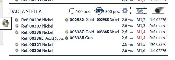 0200338K - Porca 02 Estrela M1,4x2,6mm Níquel Mod 338K  -Contém 300 Peças