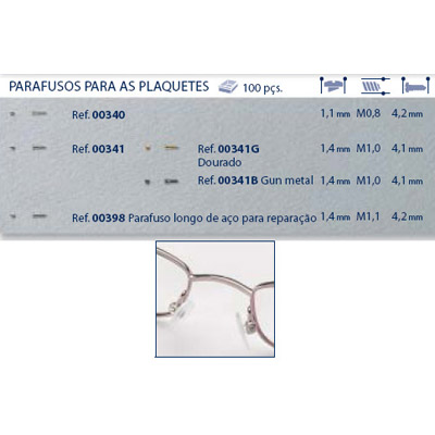0200341 - Parafuso Plaqueta Alpaca [RC1,0/CB1,4/CP4,1] Níquel Mod 341 - Contém 100 Peças