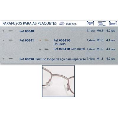 0200341G - Parafuso 02 Plaqueta Alpaca [RC1,0/CB1,4/CP4,1] Ouro Mod 341G  -Contém 100 Peças