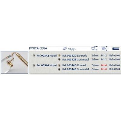 0200342G - Porca Estrela Cega M1,2x2,6mm Ouro Mod 342G - Contém 50 Peças
