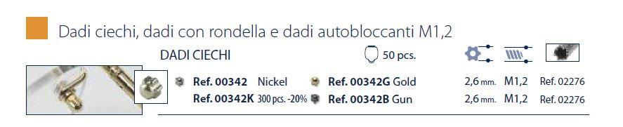 0200342K - Porca Estrela Cega M1,2x2,6mm Níquel Mod 342K - Contém 300 Peças