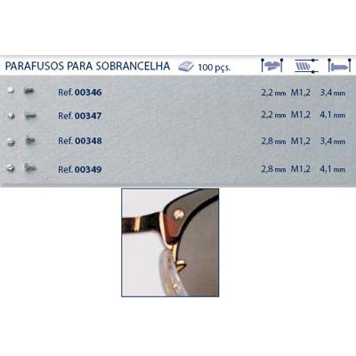 0200346 - Parafuso Alpaca [RC1,2/CB2,2/CP3,4] Níquel Mod 346 FLAG E - Contém 100 Peças SOB ENCOMENDA