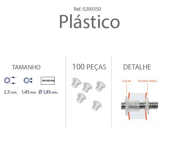 0200350 - Anilha Plástica Cilindrica 2,5x1,45mm Mod 350  -Contém 100 Peças