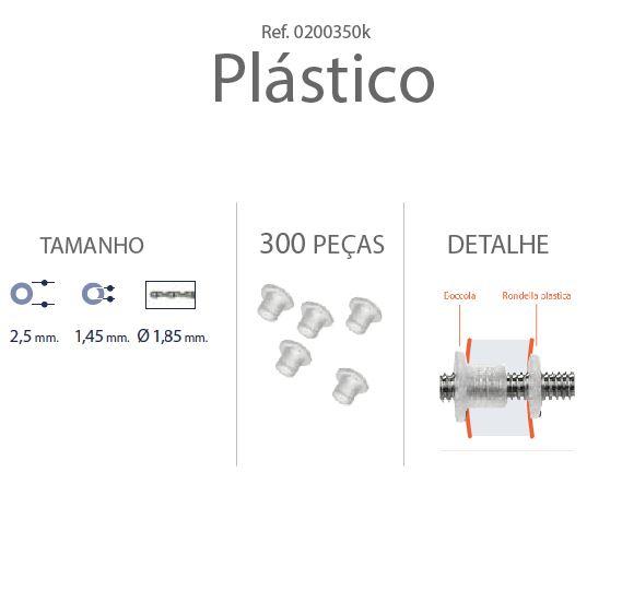 0200350K - Anilha Plástica Cilindrica 2,5x1,45mm Mod 350K - Contém 300 Peças